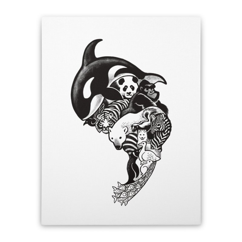 Monochromanimal Home Stretched Canvas by Waynem