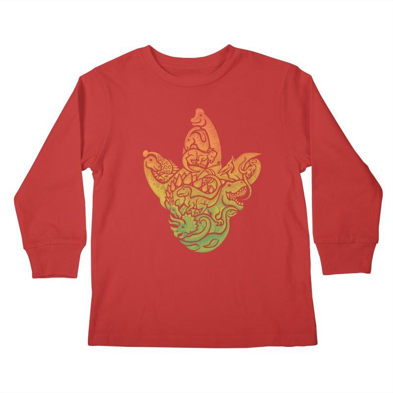 Prehistoric Print Kids Longsleeve T-Shirt by Waynem