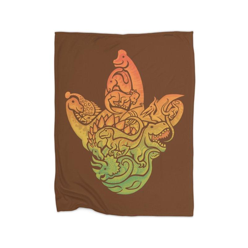 Prehistoric Print (brown) Home Fleece Blanket by Waynem