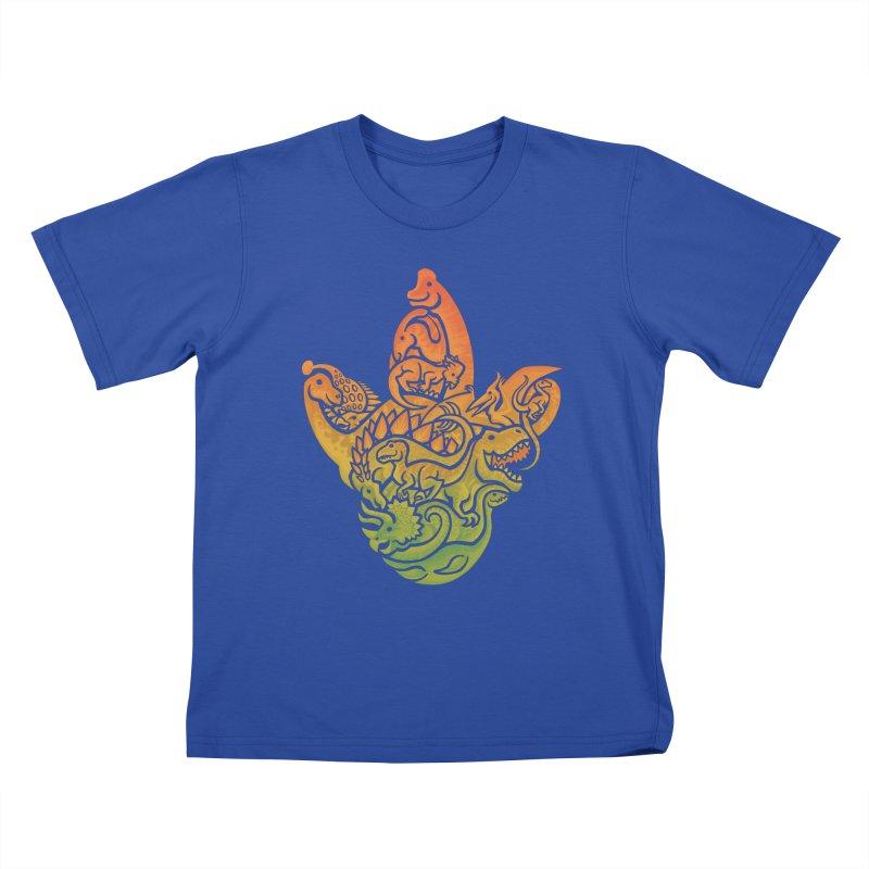 Prehistoric Print (brown) Kids T-Shirt by Waynem