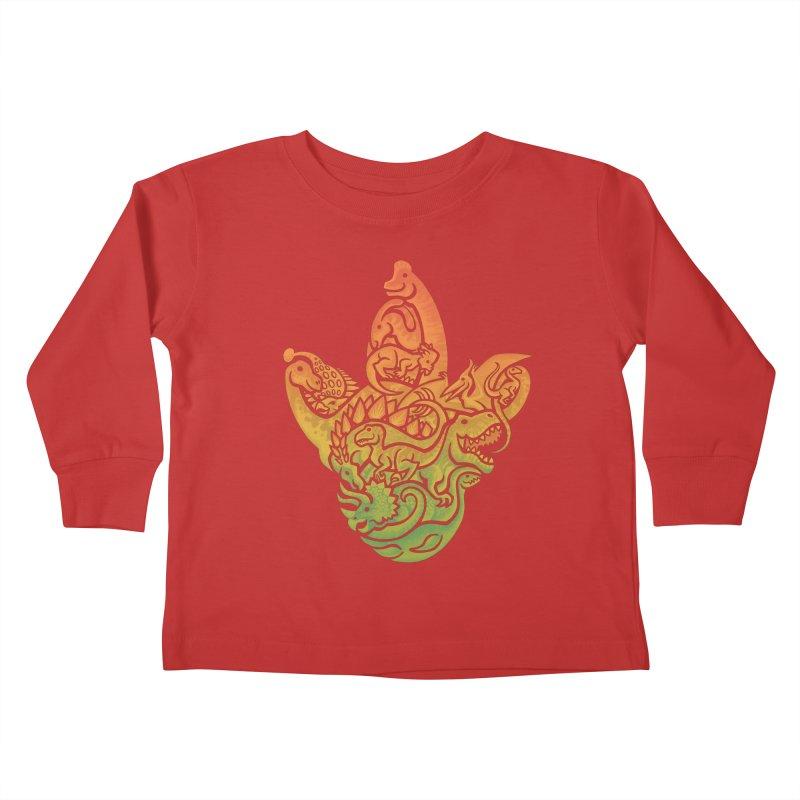 Prehistoric Print (brown) Kids Toddler Longsleeve T-Shirt by Waynem