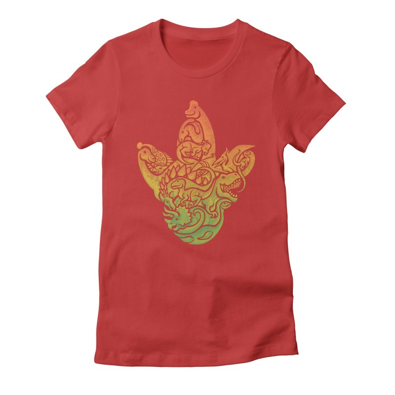 Prehistoric Print (brown) Women's Fitted T-Shirt by Waynem