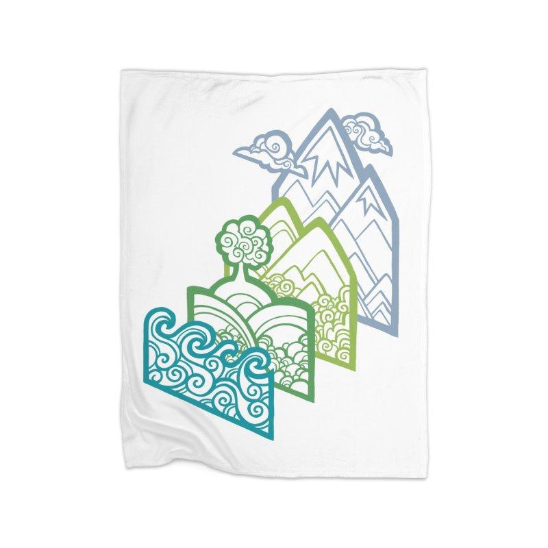How to Build a Landscape (outline) Home Fleece Blanket by Waynem