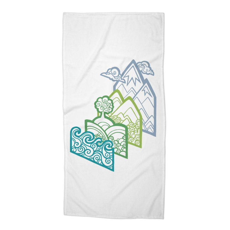 How to Build a Landscape (outline) Accessories Beach Towel by Waynem
