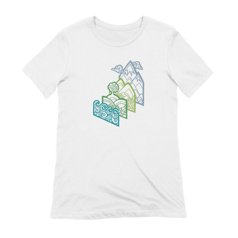 How to Build a Landscape (outline) Women's Extra Soft T-Shirt by Waynem