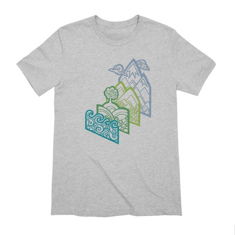 How to Build a Landscape (outline) Men's Extra Soft T-Shirt by Waynem