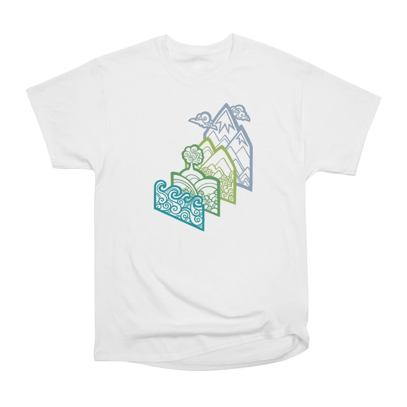 How to Build a Landscape (outline) Men's Heavyweight T-Shirt by Waynem