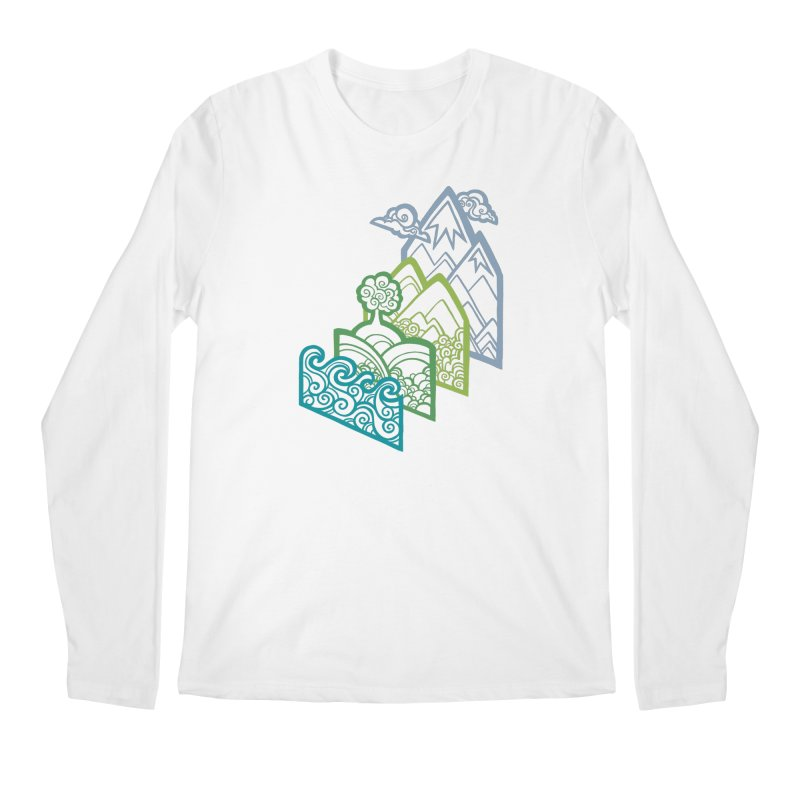How to Build a Landscape (outline) Men's Longsleeve T-Shirt by Waynem