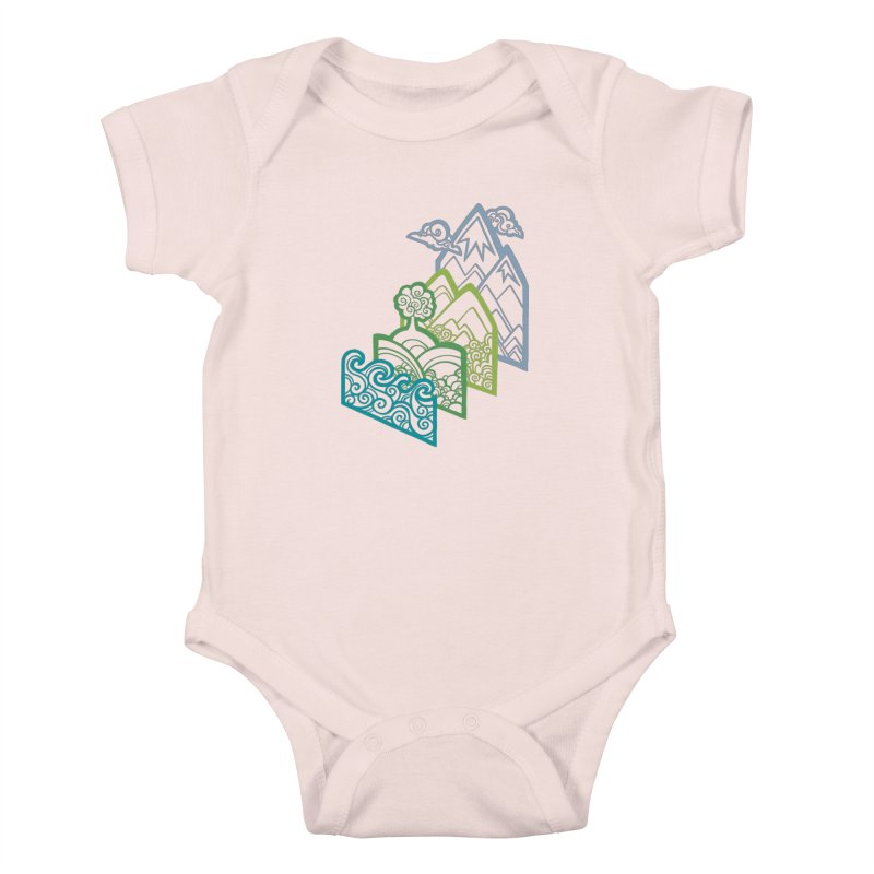 How to Build a Landscape (outline) Kids Baby Bodysuit by Waynem