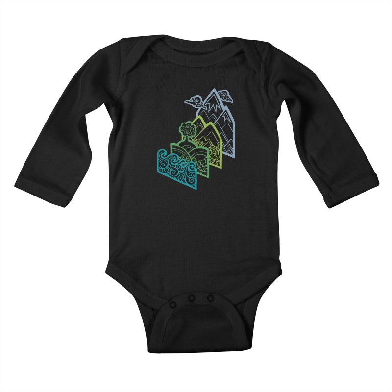How to Build a Landscape (outline) Kids Baby Longsleeve Bodysuit by Waynem