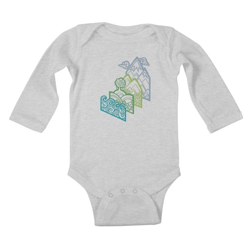 How to Build a Landscape (outline) Kids Baby Longsleeve Bodysuit by Waynem