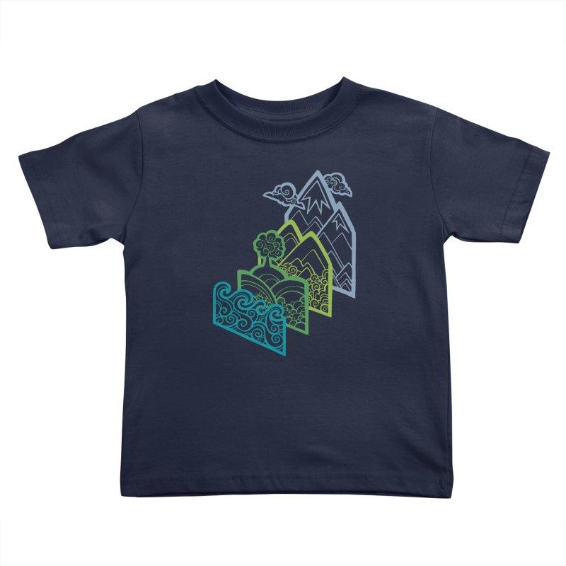 How to Build a Landscape (outline) Kids Toddler T-Shirt by Waynem