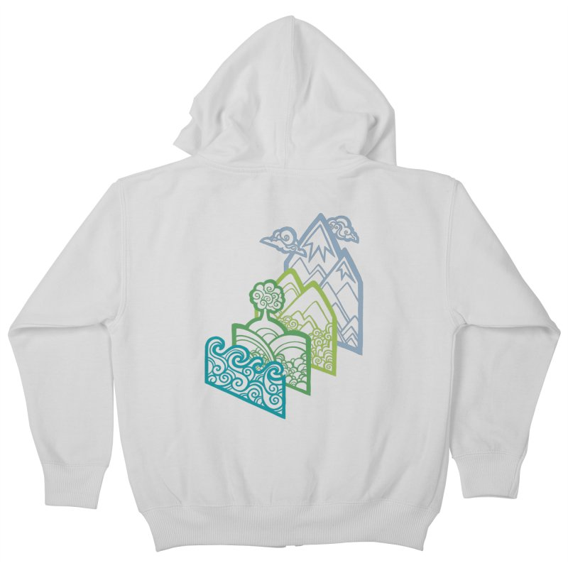 How to Build a Landscape (outline) Kids Zip-Up Hoody by Waynem
