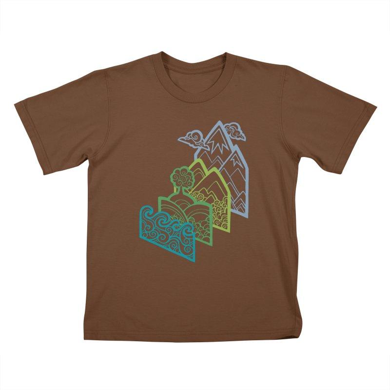 How to Build a Landscape (outline) Kids T-Shirt by Waynem