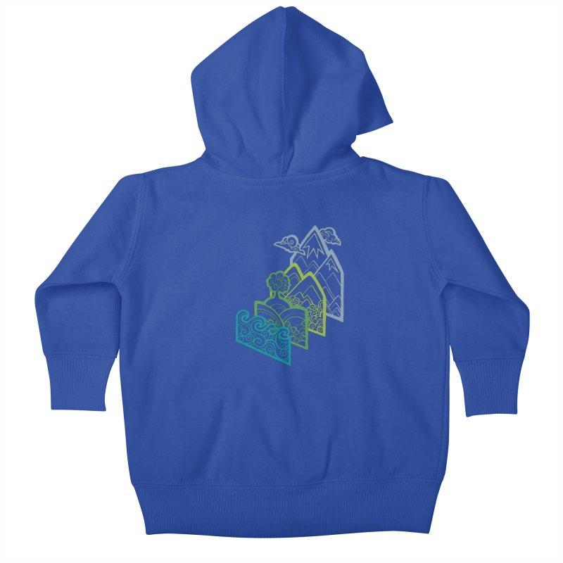 How to Build a Landscape (outline) Kids Baby Zip-Up Hoody by Waynem