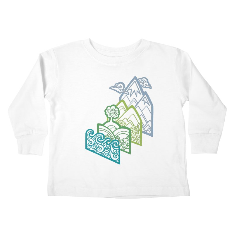 How to Build a Landscape (outline) Kids Toddler Longsleeve T-Shirt by Waynem