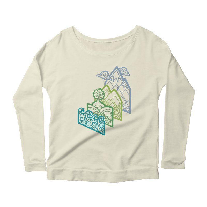 How to Build a Landscape (outline) Women's Longsleeve Scoopneck  by Waynem