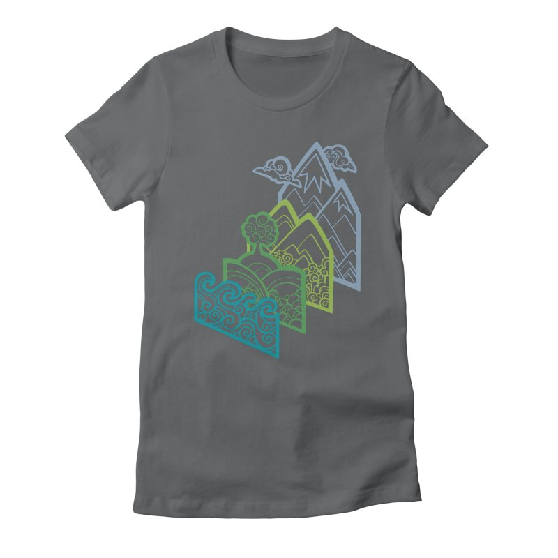 How to Build a Landscape (outline) Women's Fitted T-Shirt by Waynem