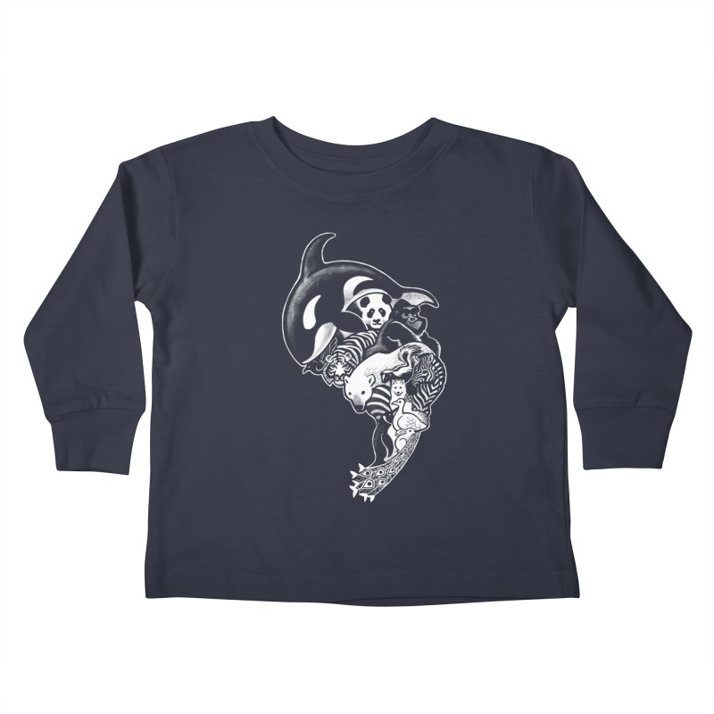 Monochromanimal (reverse) Kids Toddler Longsleeve T-Shirt by Waynem