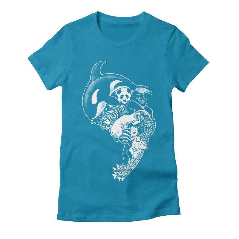Monochromanimal (reverse) Women's Fitted T-Shirt by Waynem