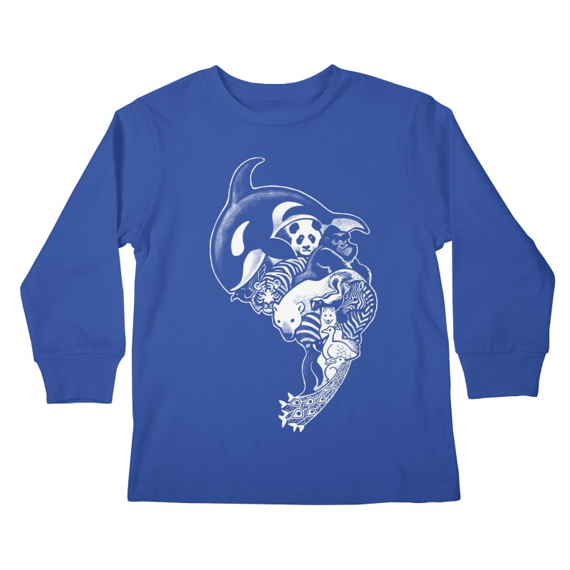 Monochromanimal (reverse) Kids Longsleeve T-Shirt by Waynem