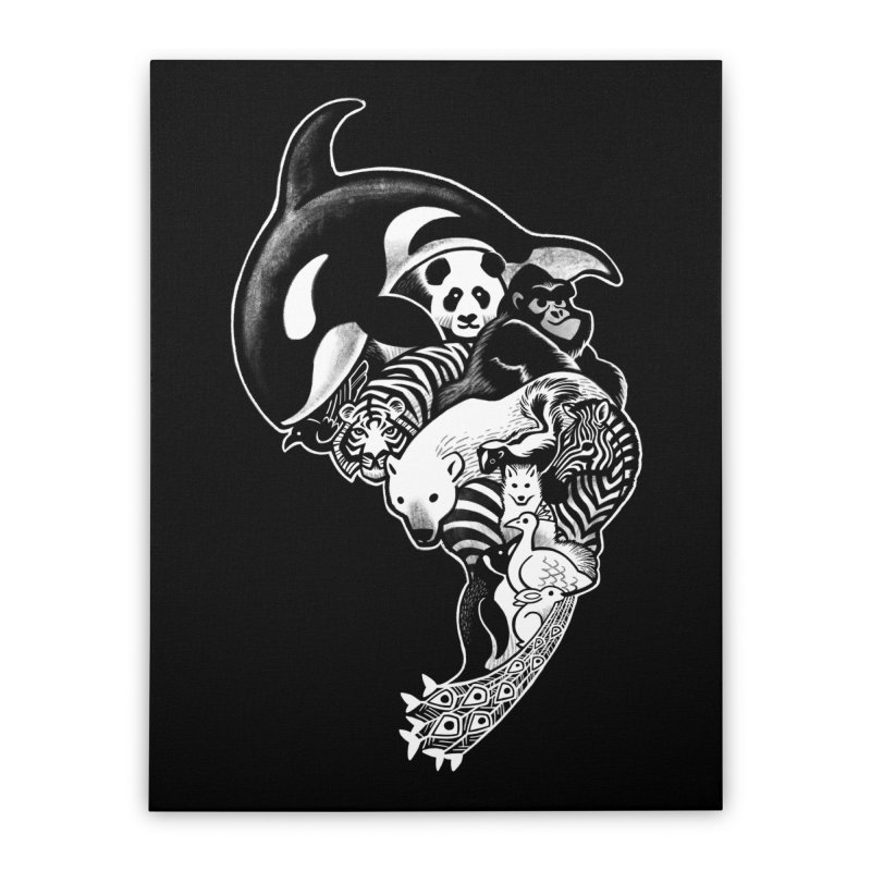 Monochromanimal (reverse) Home Stretched Canvas by Waynem