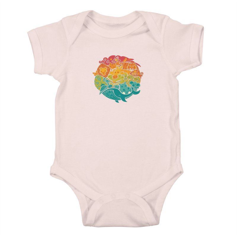 Animal Rainbow Kids Baby Bodysuit by Waynem