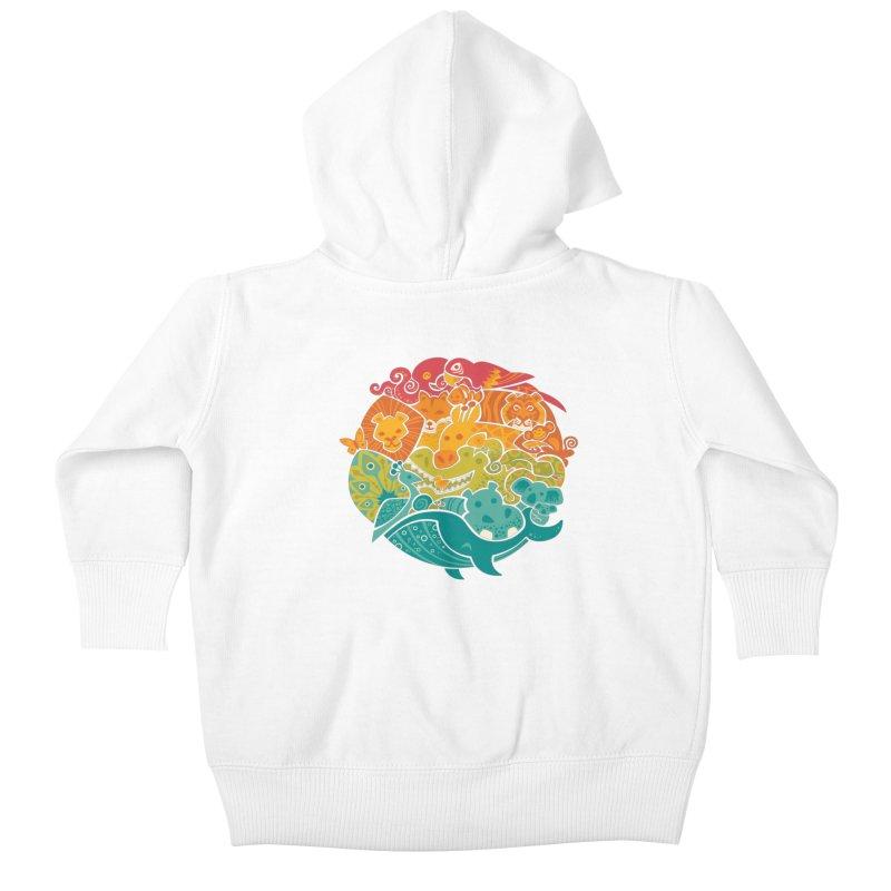 Animal Rainbow Kids Baby Zip-Up Hoody by Waynem