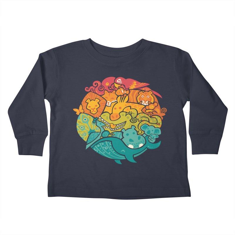 Animal Rainbow Kids Toddler Longsleeve T-Shirt by Waynem