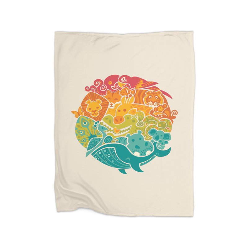 Animal Rainbow Home Fleece Blanket by Waynem