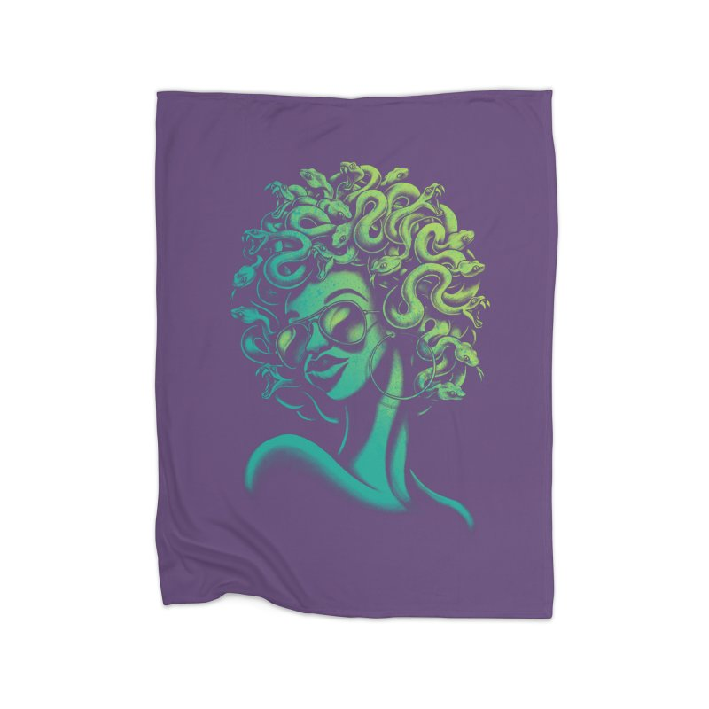 Funky Medusa Home Fleece Blanket by Waynem