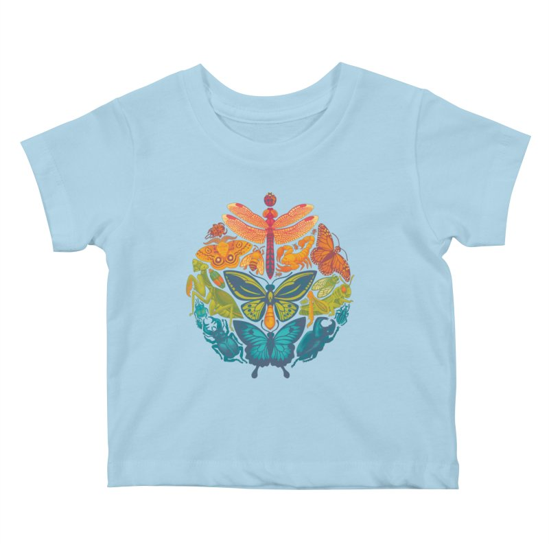 Bugs & Butterflies Kids Baby T-Shirt by Waynem