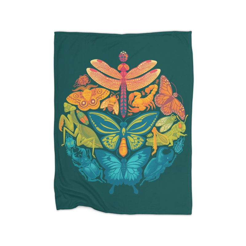 Bugs & Butterflies (green) Home Fleece Blanket by Waynem