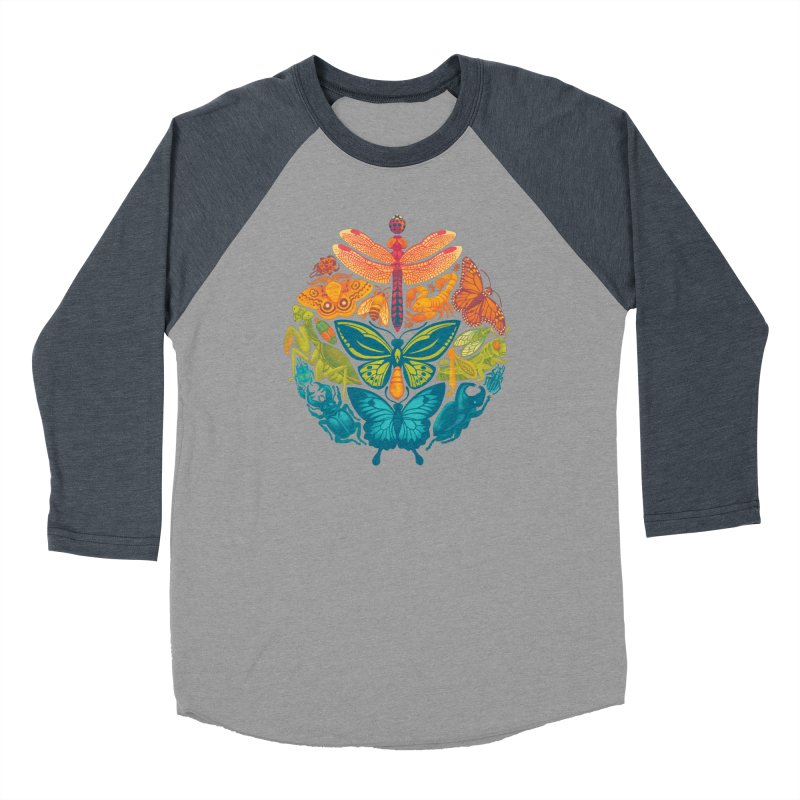 Bugs & Butterflies (green) Men's Baseball Triblend T-Shirt by Waynem