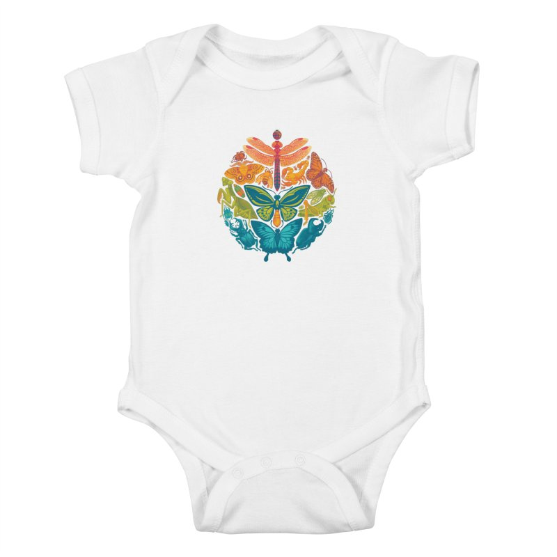 Bugs & Butterflies (green) Kids Baby Bodysuit by Waynem