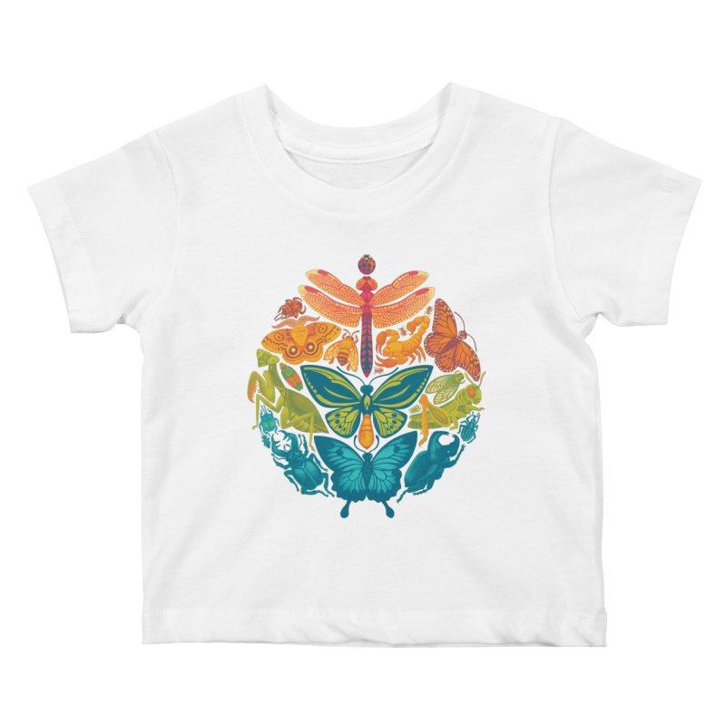 Bugs & Butterflies (green) Kids Baby T-Shirt by Waynem