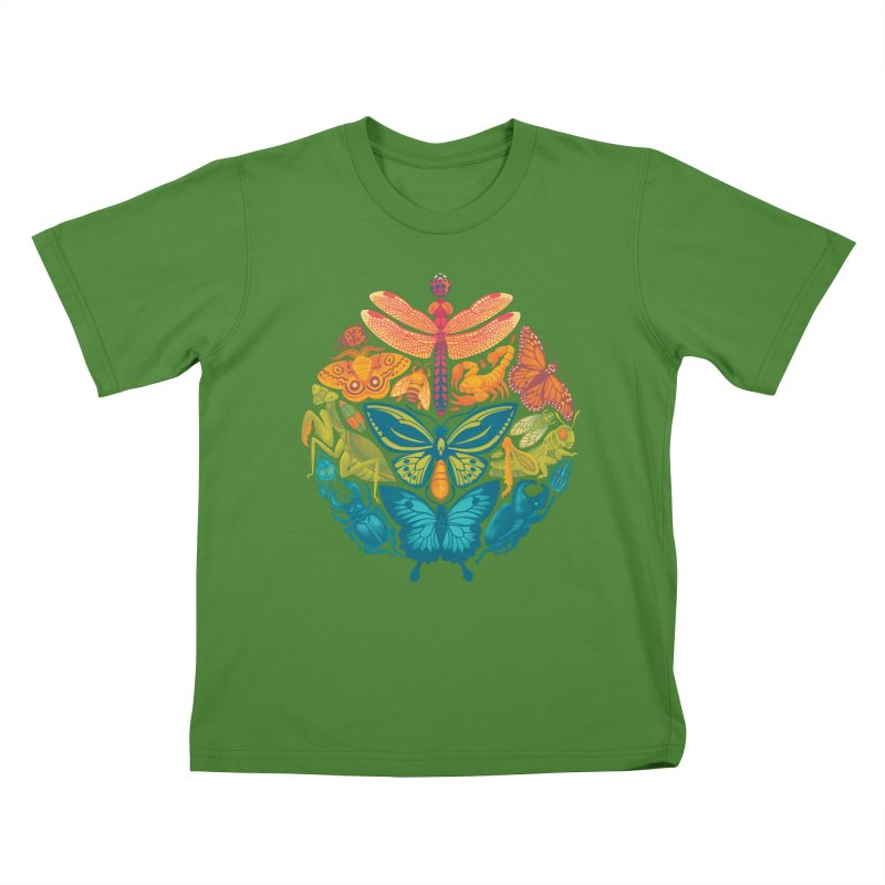 Bugs & Butterflies (green) Kids T-Shirt by Waynem
