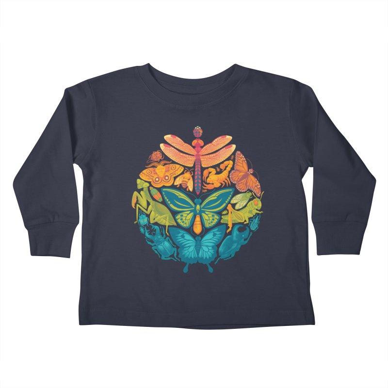 Bugs & Butterflies (green) Kids Toddler Longsleeve T-Shirt by Waynem