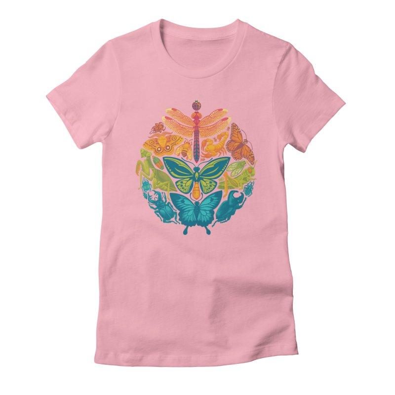 Bugs & Butterflies (green) Women's Fitted T-Shirt by Waynem