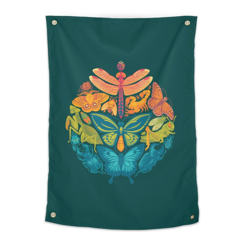 Bugs & Butterflies (green) Home Tapestry by Waynem