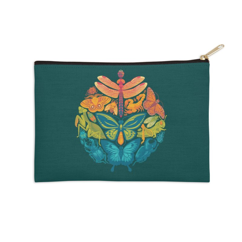 Bugs & Butterflies (green) Accessories Zip Pouch by Waynem