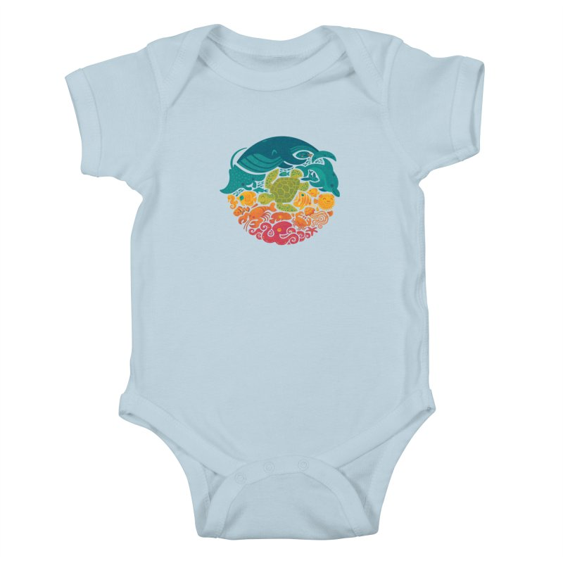 Aquatic Rainbow Kids Baby Bodysuit by Waynem