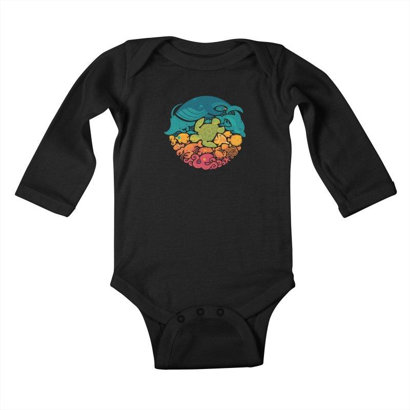 Aquatic Rainbow Kids Baby Longsleeve Bodysuit by Waynem