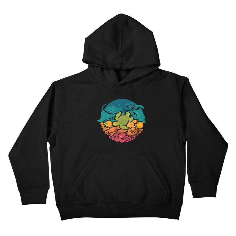 Aquatic Rainbow Kids Pullover Hoody by Waynem