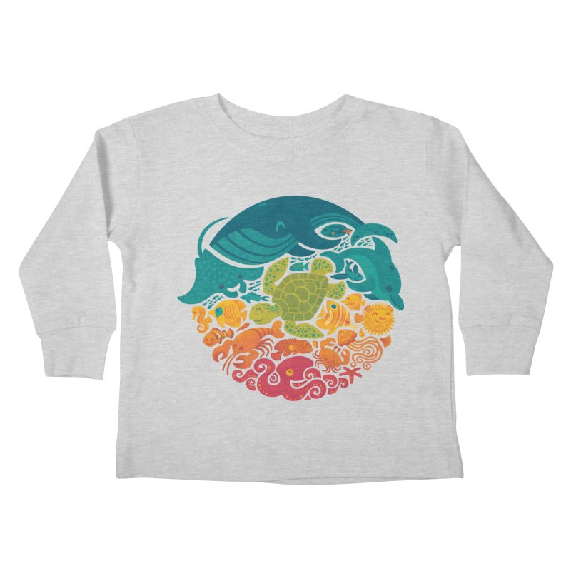 Aquatic Rainbow Kids Toddler Longsleeve T-Shirt by Waynem