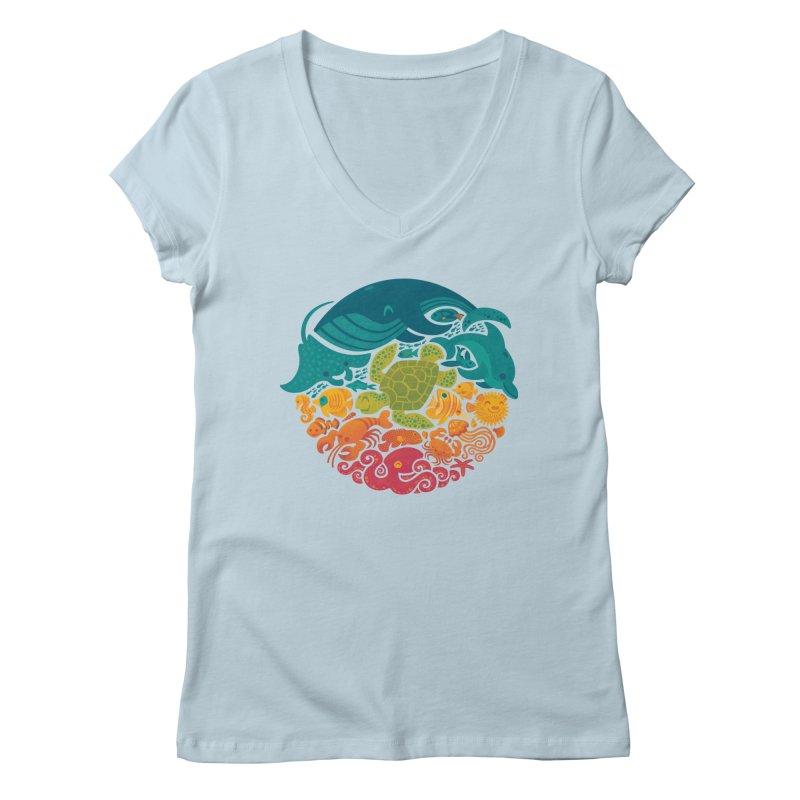 Aquatic Rainbow Women's V-Neck by Waynem