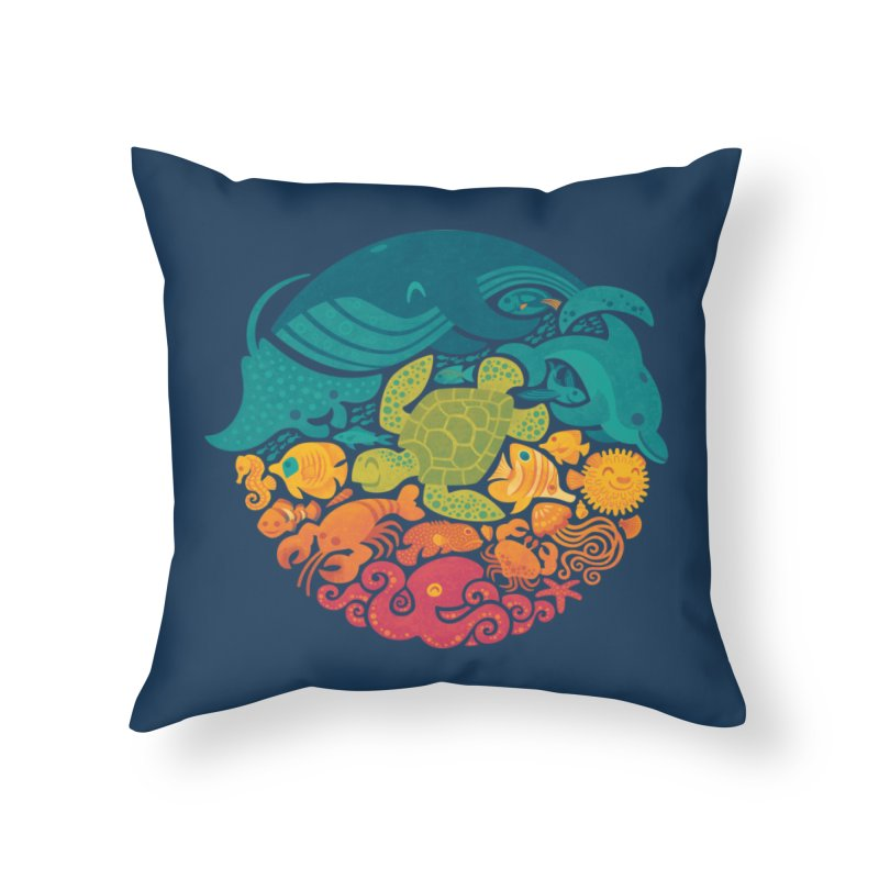 Aquatic Rainbow Home Throw Pillow by Waynem