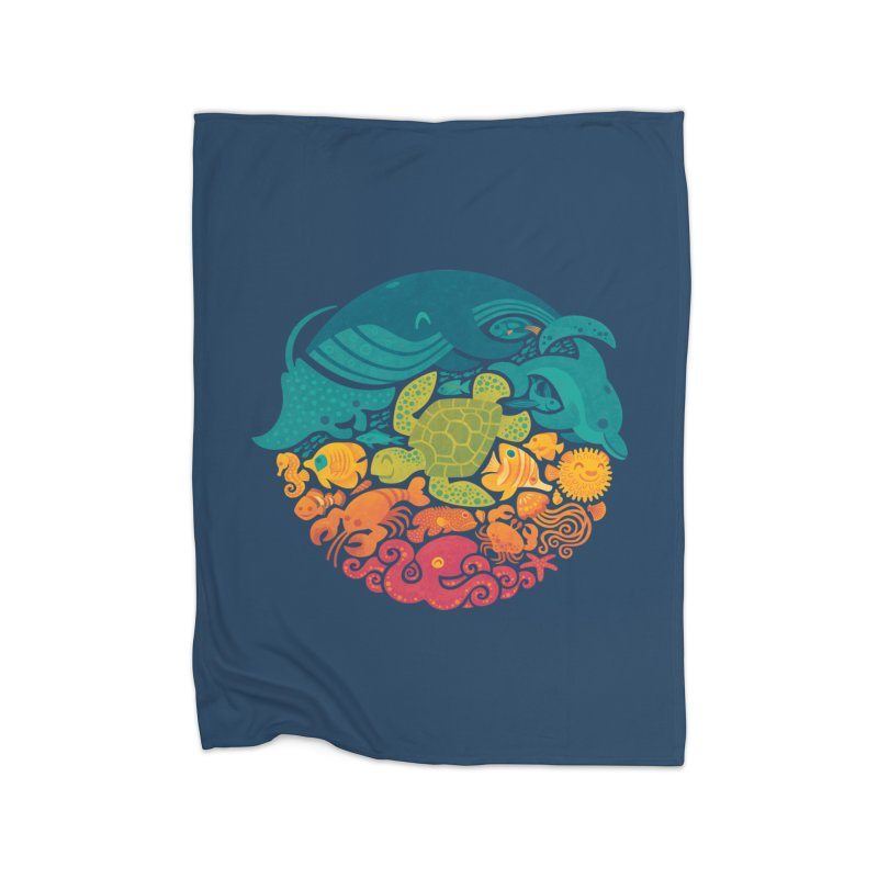 Aquatic Rainbow Home Fleece Blanket by Waynem