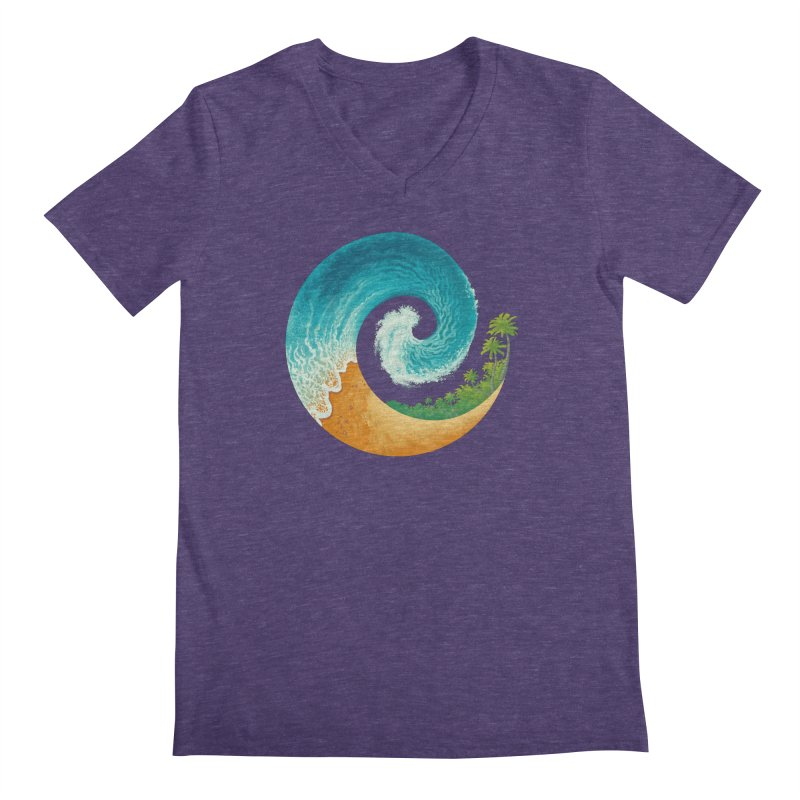 Spiral Beach Men's Regular V-Neck by Waynem