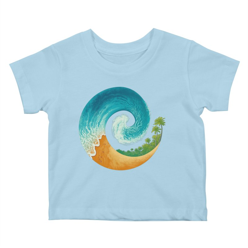 Spiral Beach Kids Baby T-Shirt by Waynem